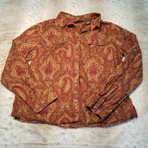 Eddie Bauer Fitted Paisley Button Down Shirt
